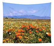Poppies Over The Mountain Tapestry
