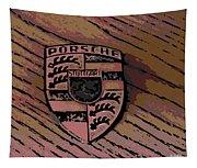 Porsche On Wood Tapestry