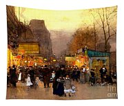Porte St Martin At Christmas Time In Paris Tapestry