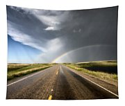 Prairie Hail Storm And Rainbow Tapestry