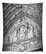 Prayers At Notre Dame - Black And White Tapestry