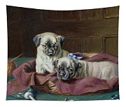 Pug Puppies In A Basket Tapestry