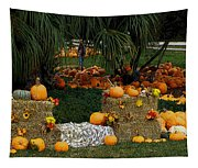 Pumpkins Under The Palms Tapestry