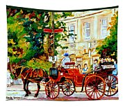 Quebec City Street Scene The Red Caleche Tapestry