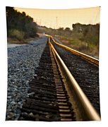 Railroad Tracks At Sundown Tapestry