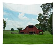 Red Barn On The Horizon Tapestry