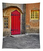Red Door And Yellow Windows Tapestry