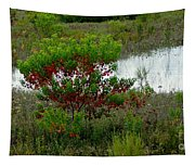 Red In Green Tapestry