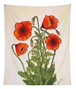Red Poppies Watercolor Painting Tapestry