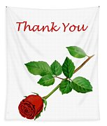 Red Rose Thank You Card Tapestry