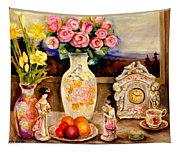 Red Roses Yellow Daffodils In Hand Painted Oriental Antique Vases With Fruit Plate Doves And Angels Tapestry