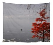 Red Tree On The Lake Front Tapestry