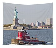 Red Tug Three And Liberty Tapestry
