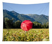Red Umbrella On The Field Tapestry