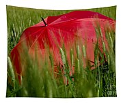 Red Umbrella On The Wheat Field Tapestry