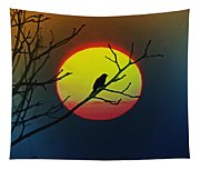Red Winged Blackbird In The Sun Tapestry