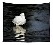 Reflections Of An Egret  Tapestry