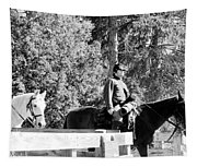 Riding Soldiers B And W II Tapestry