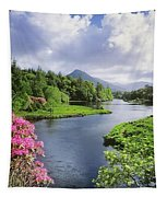 River Leading To A Mountain Tapestry