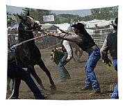 Rodeo Wild Horse Race Tapestry