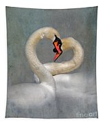 Romantic Image Of Courting Swans Tapestry
