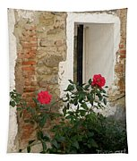 Roses And Antiquity  Tapestry