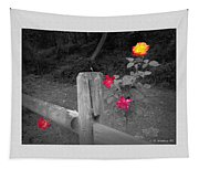 Roses And Fence Tapestry