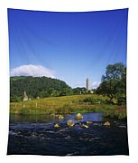 Round Tower And River In The Forest Tapestry
