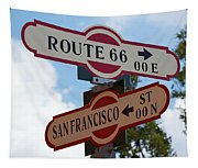 Route 66 Street Sign Tapestry