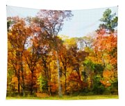 Row Of Autumn Trees Tapestry