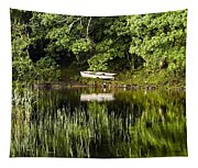 Rowboat Moored On The Bank Of A Lake Tapestry