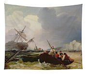 Rowing Boat Going To The Aid Of A Man-o'-war In A Storm Tapestry