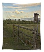 Rural Birdhouse On Fence Tapestry