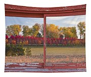 Rural Country Autumn Scenic Window View Tapestry