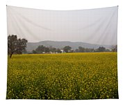 Rural Landscape With A Field Of Mustard Tapestry