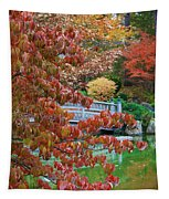 Rust Colored Leaves Over Autumn Pond Tapestry