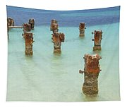 Rusted Iron Pier Dock Tapestry