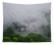 Rustic Village In The Fog Tapestry
