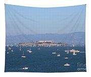 Sailboats In The San Francisco Bay Overlooking Alcatraz . 7d7862 Tapestry