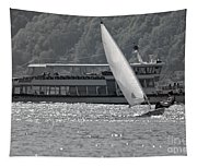 Sailing Boat And Passenger Boat Tapestry