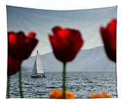Sailing Boat And Tulip Tapestry