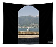 Sailing Boat Through An Open Door Tapestry