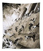 Sailors Escaping Hms Natal Which Caught Fire In Cromerty Firth In 1915 Tapestry