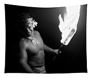 Samoan Chief With Torch Tapestry