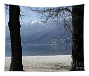 Sand Beach On An Alpine Lake Tapestry