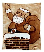 Santa Claus Gifts Original Coffee Painting Tapestry by Georgeta  Blanaru