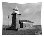 Santa Cruz Lighthouse - Black And White Tapestry