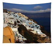 Santorini Cliff View Tapestry