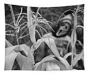 Scarecrow In The Corn Black And White Tapestry
