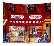 Schwartz's Deli-montreal Street Scenes-painting-by  Quebec Artist-carole Spandau Tapestry